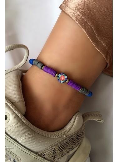 My Joyas Design Pembe Çiçek Detaylı Fimo Boncuk Halhal Renkli